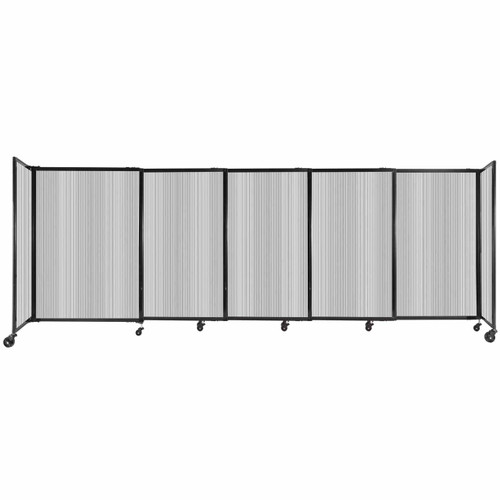 """StraightWall Sliding Portable Partition 11'3"""" x 4' Clear Fluted Polycarbonate"""