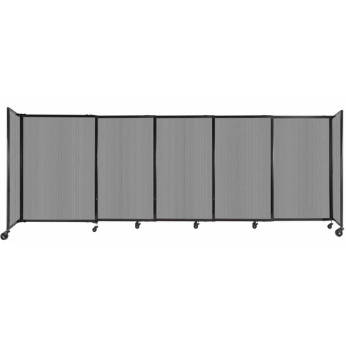"""StraightWall Sliding Portable Partition 11'3"""" x 4' Light Gray Fluted Polycarbonate"""