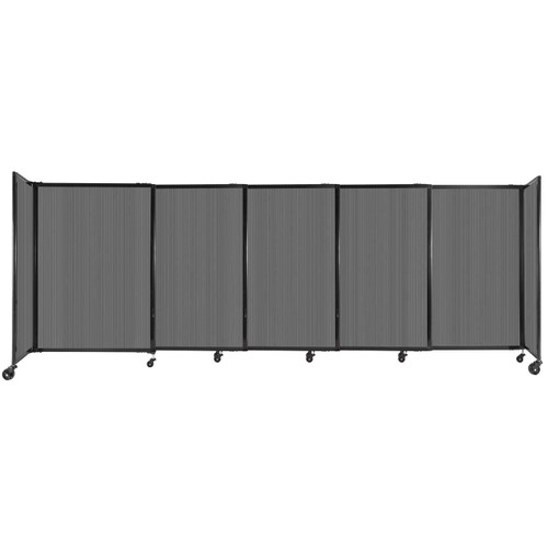 """StraightWall Sliding Portable Partition 11'3"""" x 4' Dark Gray Fluted Polycarbonate"""
