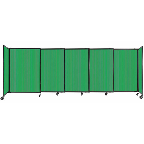 """StraightWall Sliding Portable Partition 11'3"""" x 4' Green Fluted Polycarbonate"""