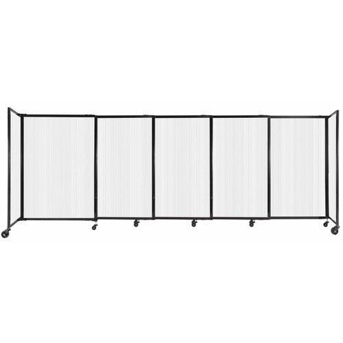"""StraightWall Sliding Portable Partition 11'3"""" x 4' Opal Fluted Polycarbonate"""