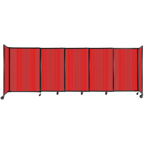 """StraightWall Sliding Portable Partition 11'3"""" x 4' Red Fluted Polycarbonate"""