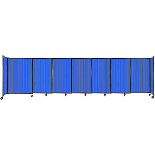"""StraightWall Sliding Portable Partition 15'6"""" x 4' Blue Fluted Polycarbonate"""