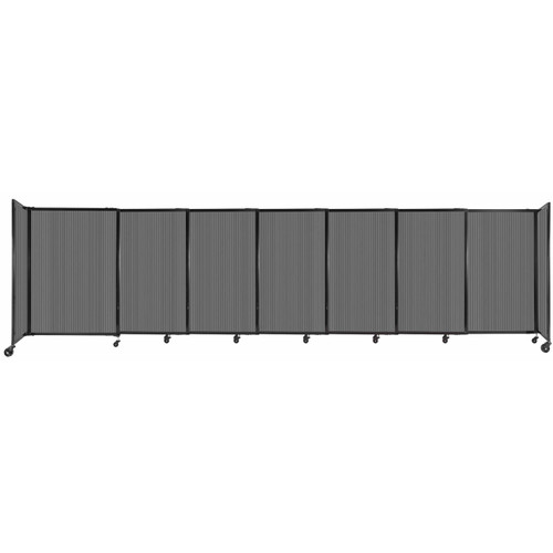 """StraightWall Sliding Portable Partition 15'6"""" x 4' Dark Gray Fluted Polycarbonate"""