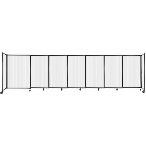 """StraightWall Sliding Portable Partition 15'6"""" x 4' Opal Fluted Polycarbonate"""