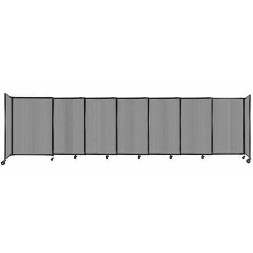 """StraightWall Sliding Portable Partition 15'6"""" x 4' Light Gray Fluted Polycarbonate"""
