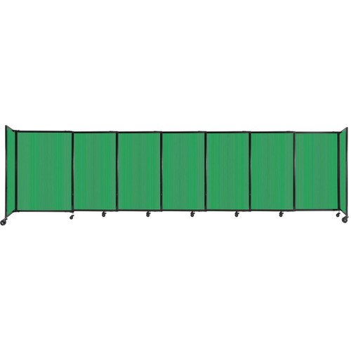 """StraightWall Sliding Portable Partition 15'6"""" x 4' Green Fluted Polycarbonate"""