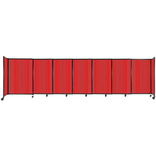 """StraightWall Sliding Portable Partition 15'6"""" x 4' Red Fluted Polycarbonate"""