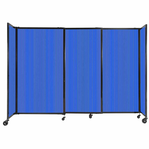 """StraightWall Sliding Portable Partition 7'2"""" x 5' Blue Fluted Polycarbonate"""