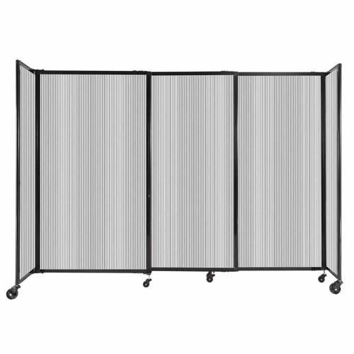 """StraightWall Sliding Portable Partition 7'2"""" x 5' Clear Fluted Polycarbonate"""