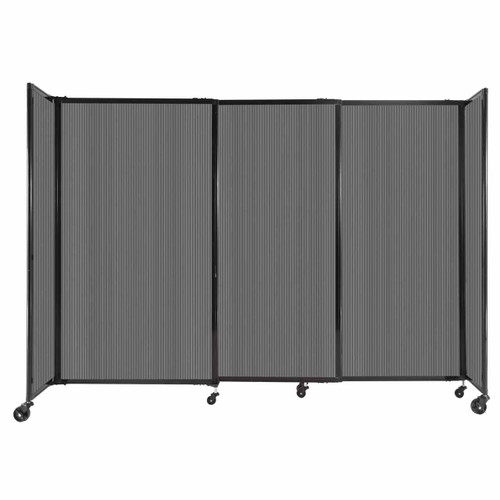 """StraightWall Sliding Portable Partition 7'2"""" x 5' Dark Gray Fluted Polycarbonate"""