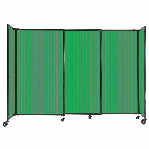 """StraightWall Sliding Portable Partition 7'2"""" x 5' Green Fluted Polycarbonate"""