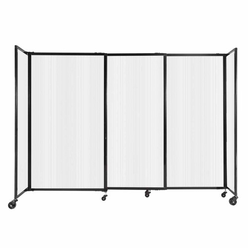 """StraightWall Sliding Portable Partition 7'2"""" x 5' Opal Fluted Polycarbonate"""