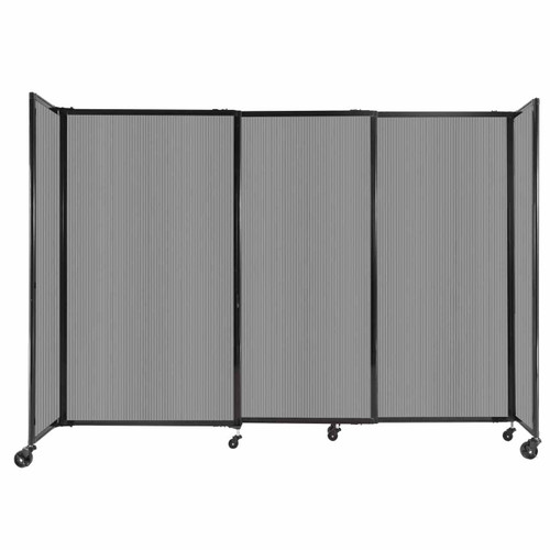 """StraightWall Sliding Portable Partition 7'2"""" x 5' Light Gray Fluted Polycarbonate"""