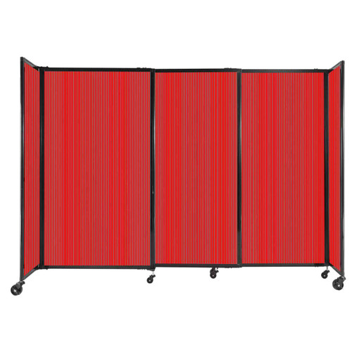 """StraightWall Sliding Portable Partition 7'2"""" x 5' Red Fluted Polycarbonate"""