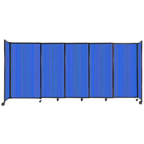 """StraightWall Sliding Portable Partition 11'3"""" x 5' Blue Fluted Polycarbonate"""