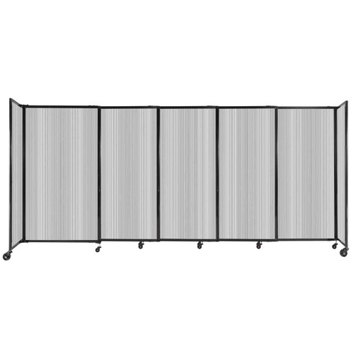 """StraightWall Sliding Portable Partition 11'3"""" x 5' Clear Fluted Polycarbonate"""