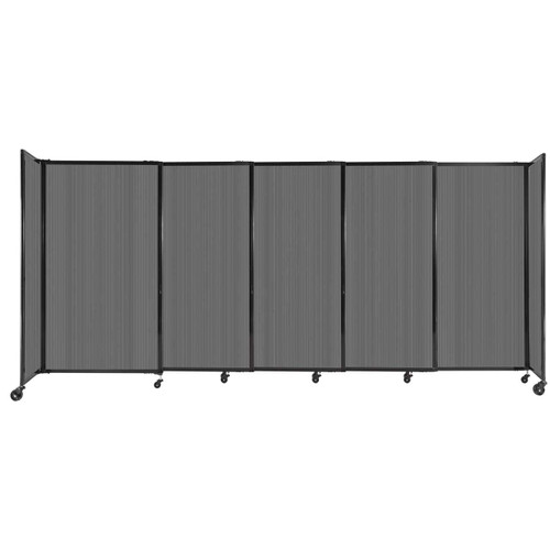 """StraightWall Sliding Portable Partition 11'3"""" x 5' Dark Gray Fluted Polycarbonate"""