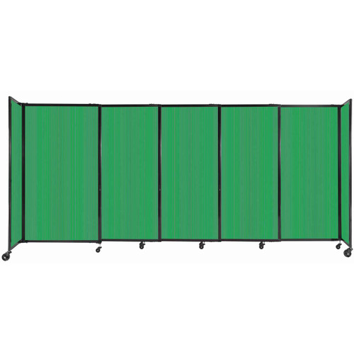 """StraightWall Sliding Portable Partition 11'3"""" x 5' Green Fluted Polycarbonate"""