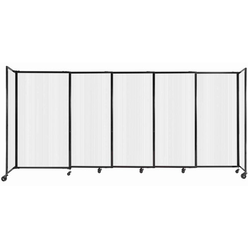 """StraightWall Sliding Portable Partition 11'3"""" x 5' Opal Fluted Polycarbonate"""