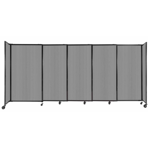 """StraightWall Sliding Portable Partition 11'3"""" x 5' Light Gray Fluted Polycarbonate"""