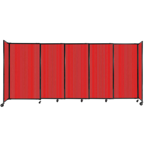 """StraightWall Sliding Portable Partition 11'3"""" x 5' Red Fluted Polycarbonate"""