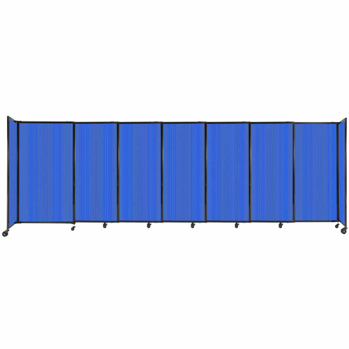 """StraightWall Sliding Portable Partition 15'6"""" x 5' Blue Fluted Polycarbonate"""