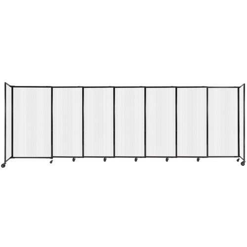 """StraightWall Sliding Portable Partition 15'6"""" x 5' Opal Fluted Polycarbonate"""