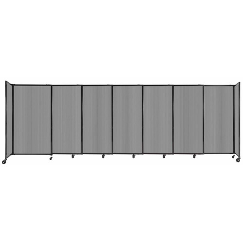 """StraightWall Sliding Portable Partition 15'6"""" x 5' Light Gray Fluted Polycarbonate"""