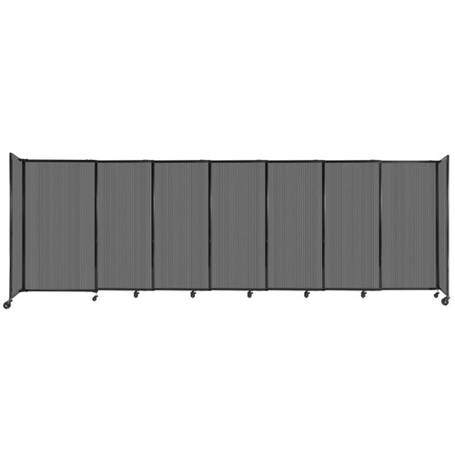 """StraightWall Sliding Portable Partition 15'6"""" x 5' Dark Gray Fluted Polycarbonate"""