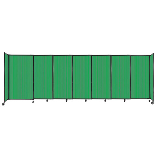 """StraightWall Sliding Portable Partition 15'6"""" x 5' Green Fluted Polycarbonate"""