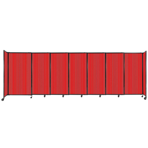 """StraightWall Sliding Portable Partition 15'6"""" x 5' Red Fluted Polycarbonate"""