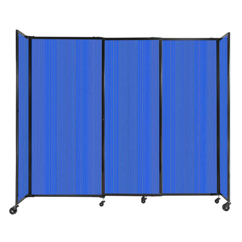 """StraightWall Sliding Portable Partition 7'2"""" x 6' Blue Fluted Polycarbonate"""