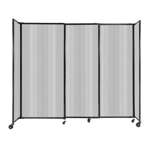 """StraightWall Sliding Portable Partition 7'2"""" x 6' Clear Fluted Polycarbonate"""