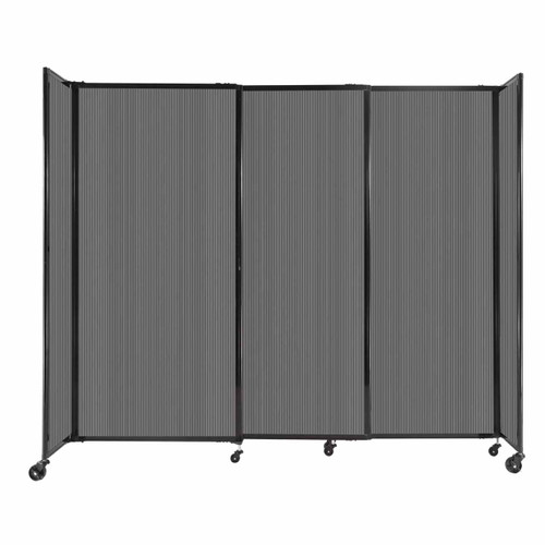 """StraightWall Sliding Portable Partition 7'2"""" x 6' Dark Gray Fluted Polycarbonate"""