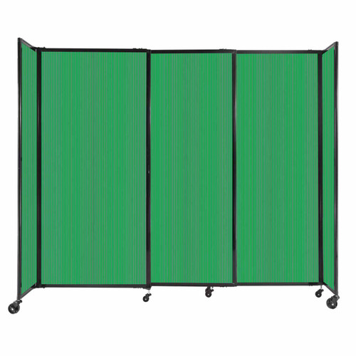 """StraightWall Sliding Portable Partition 7'2"""" x 6' Green Fluted Polycarbonate"""