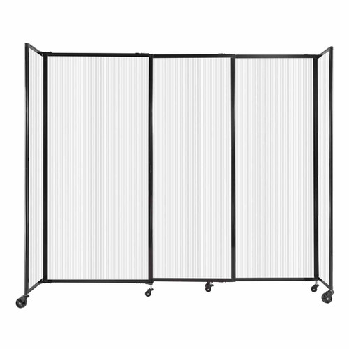 """StraightWall Sliding Portable Partition 7'2"""" x 6' Opal Fluted Polycarbonate"""
