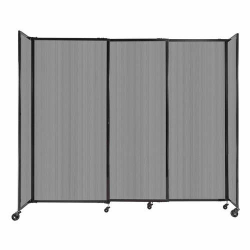 """StraightWall Sliding Portable Partition 7'2"""" x 6' Light Gray Fluted Polycarbonate"""