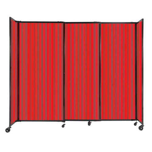 """StraightWall Sliding Portable Partition 7'2"""" x 6' Red Fluted Polycarbonate"""
