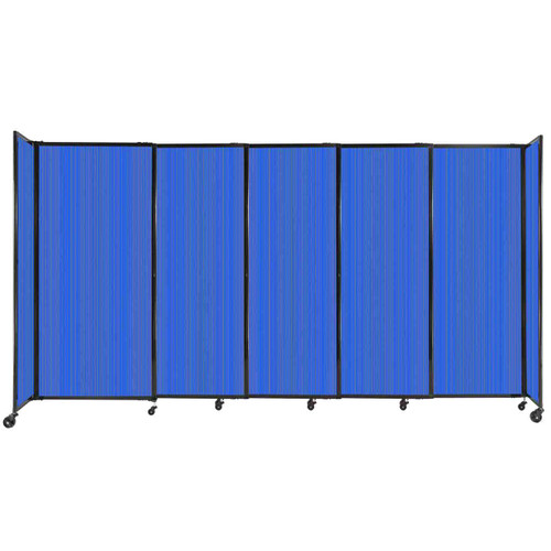"""StraightWall Sliding Portable Partition 11'3"""" x 6' Blue Fluted Polycarbonate"""