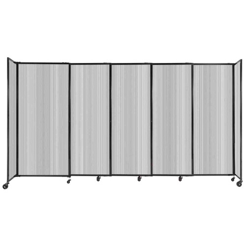 """StraightWall Sliding Portable Partition 11'3"""" x 6' Clear Fluted Polycarbonate"""