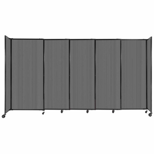 """StraightWall Sliding Portable Partition 11'3"""" x 6' Dark Gray Fluted Polycarbonate"""