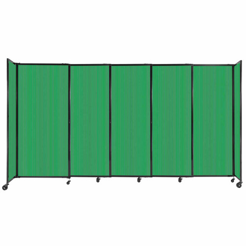 """StraightWall Sliding Portable Partition 11'3"""" x 6' Green Fluted Polycarbonate"""