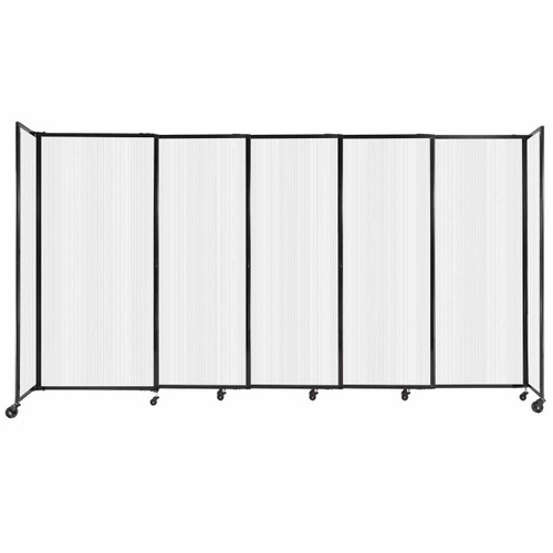 """StraightWall Sliding Portable Partition 11'3"""" x 6' Opal Fluted Polycarbonate"""