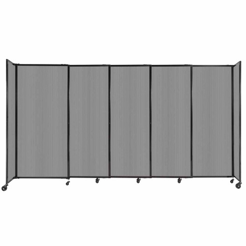 """StraightWall Sliding Portable Partition 11'3"""" x 6' Light Gray Fluted Polycarbonate"""