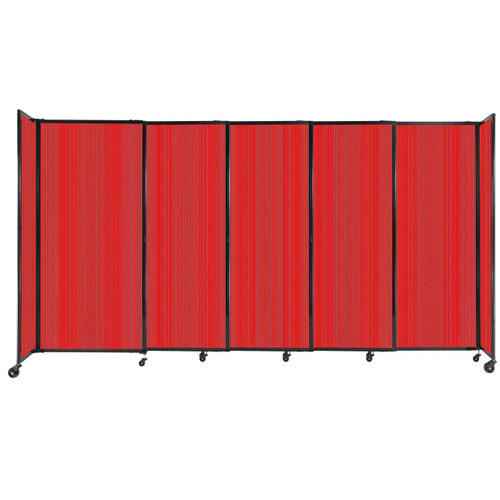 """StraightWall Sliding Portable Partition 11'3"""" x 6' Red Fluted Polycarbonate"""