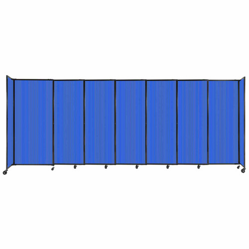 """StraightWall Sliding Portable Partition 15'6"""" x 6' Blue Fluted Polycarbonate"""