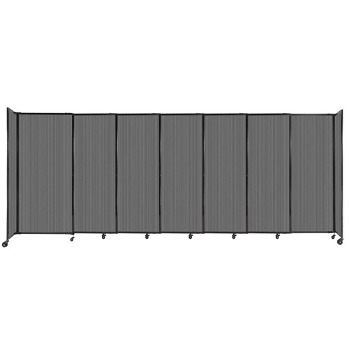 """StraightWall Sliding Portable Partition 15'6"""" x 6' Dark Gray Fluted Polycarbonate"""