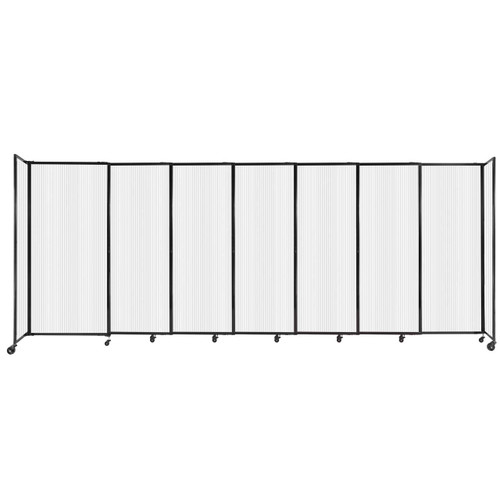 """StraightWall Sliding Portable Partition 15'6"""" x 6' Opal Fluted Polycarbonate"""