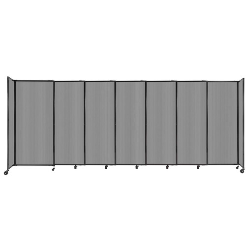 """StraightWall Sliding Portable Partition 15'6"""" x 6' Light Gray Fluted Polycarbonate"""